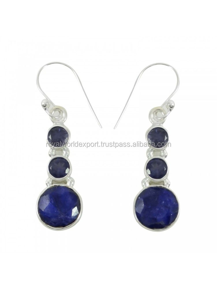 USA related Faceted Sapphire Stone Drop Dangle Earrings 925 Sterling Silver Indian Jewelry
