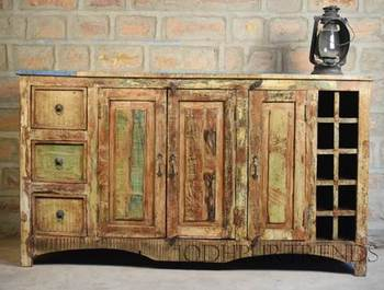 Reclaimed Wood Furniture Made In India Recycle 3 Doors Drawers Buffet