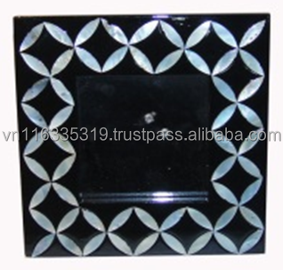 Square Morden design Lacquer MDF photo frame with Mother of pearl decoration for tableware accessories