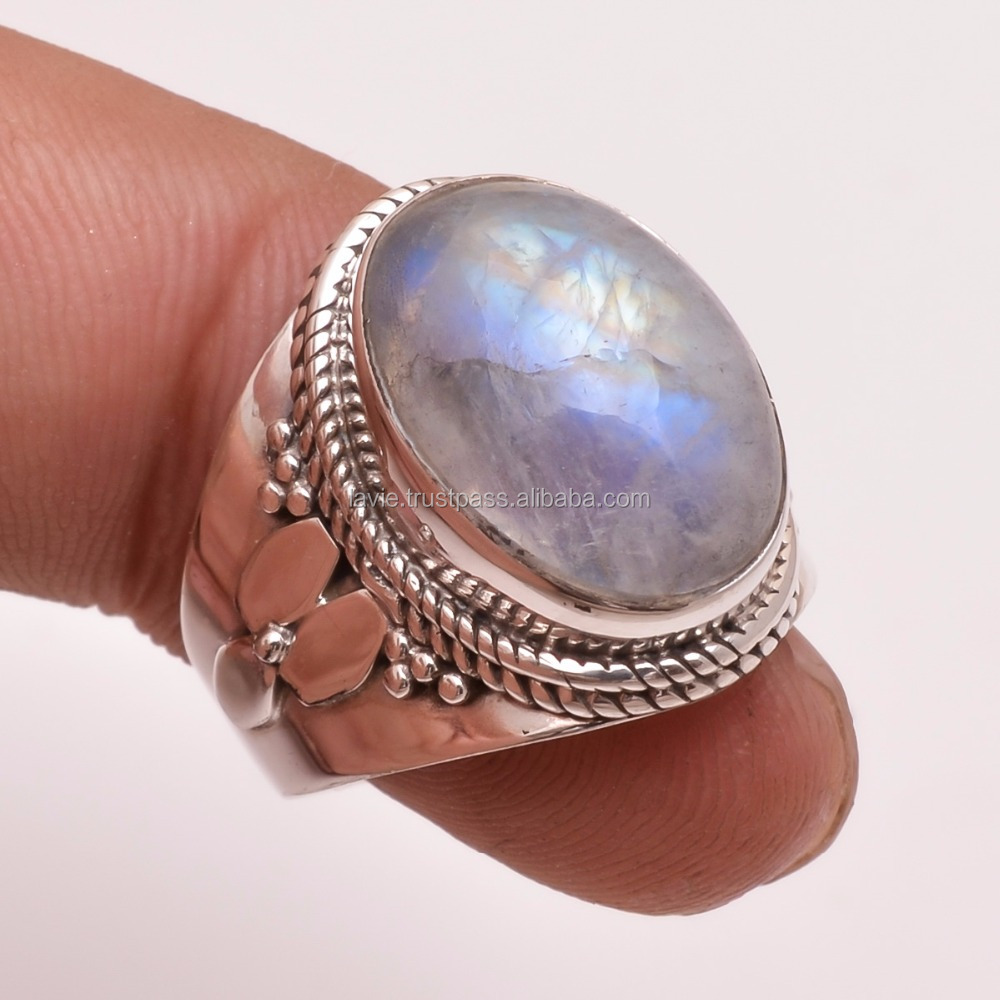 925 Solid Silver Gemstone Ring, Natural Rainbow Moonstone Silver Jewelry, Handcrafted Jewelry