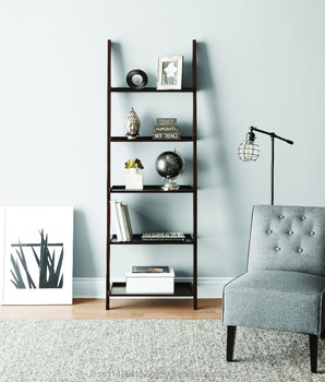 Shelf 5 Tier Leaning Bookcase Espresso Living Room Buy Shelf Bookcase Living Room Boocase Product On Alibaba Com