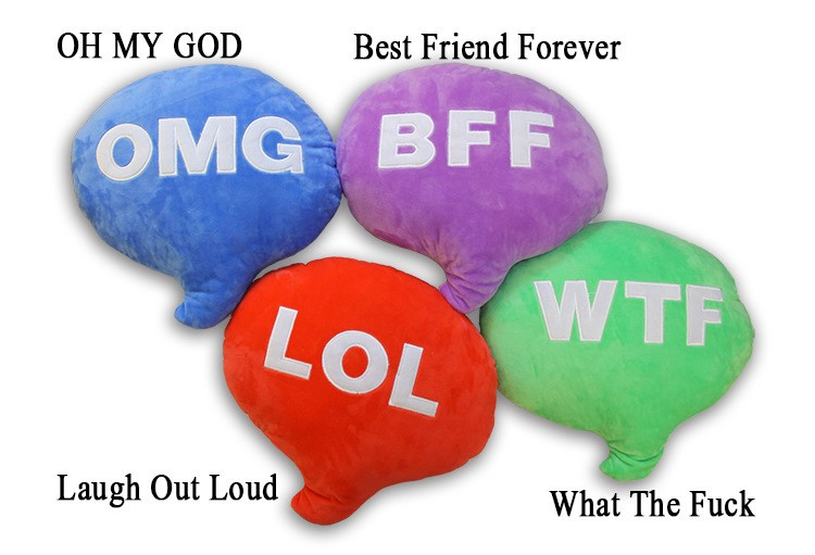 Eco-Friendly Material Good quality BFF WTF LOL OMG Plush Character Pillows Emoji Pillow