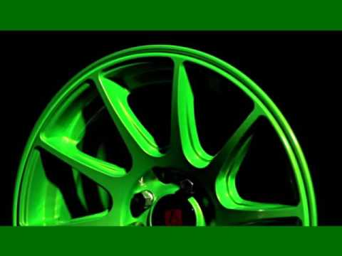 Automotive Decor With Green Alloy Wheel |Set Of Pictures Of Car Wheels, Tyres & Trims