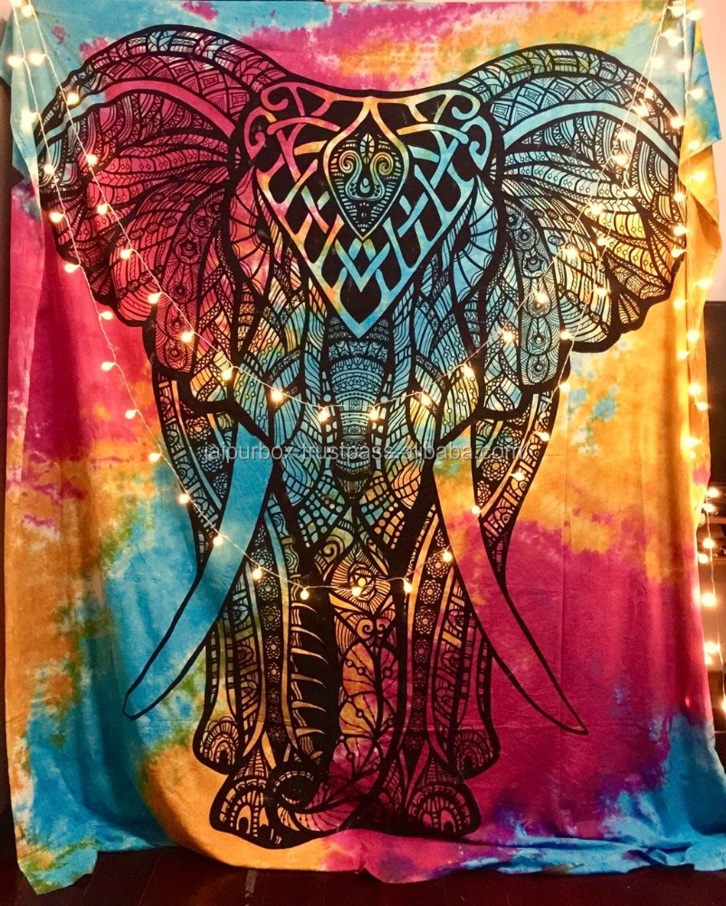 100% Cotton Elephant King Tie Dyed Tapestry