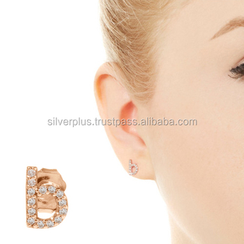 14k Gold J H Color Si Diamond Initial Alphabet Letter B Personalized Stud Earrings