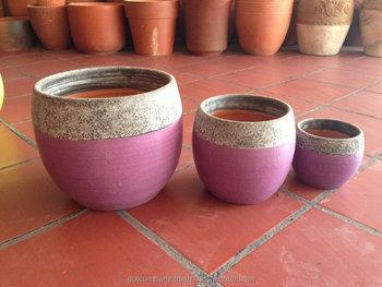 Terre Cuite Peinte Peinture Pots De Fleurs Lavage En Céramique