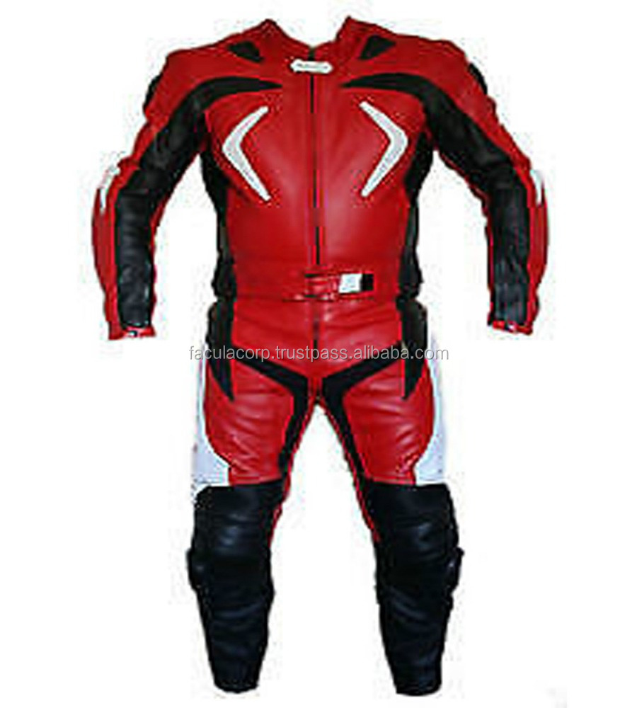 RED MOTORBIKE LEATHER SPORTS SUIT RACING BIKER SUIT CE ARMOUR FC-11365