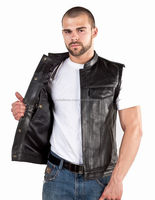 2015 New fashion Mens Premium Buffalo Leather Vest with Side Lacing for mens motorbike leather vest