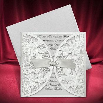 Wedding Invitation Cards Silver Laser Cut Card