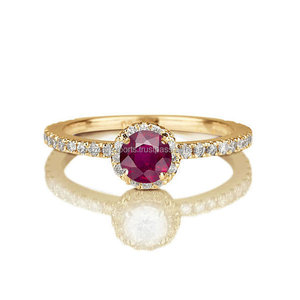 925 Sterling Silver Ruby Gemstone CZ Diamond Ruby Round Ring for sale via coszcalt exports
