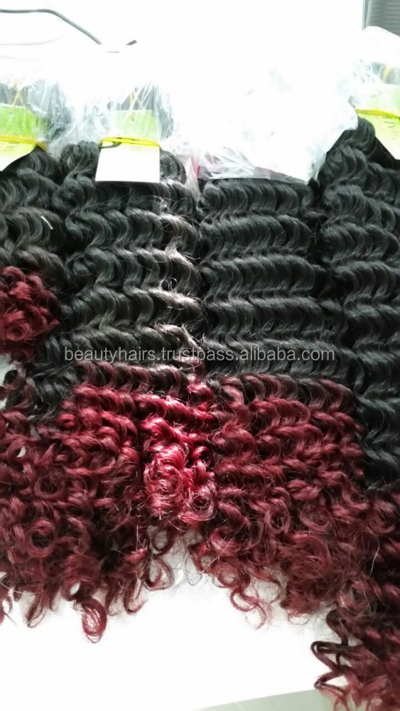Red Ombre Curly Human Hair Extensions 30 inches
