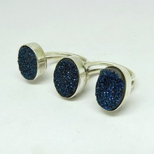 Fashion Blue Oval Druzy Two Finger 925 Sterling Silver Bezel Ring, Unique Silver Jewelry, Exporter And Wholesale