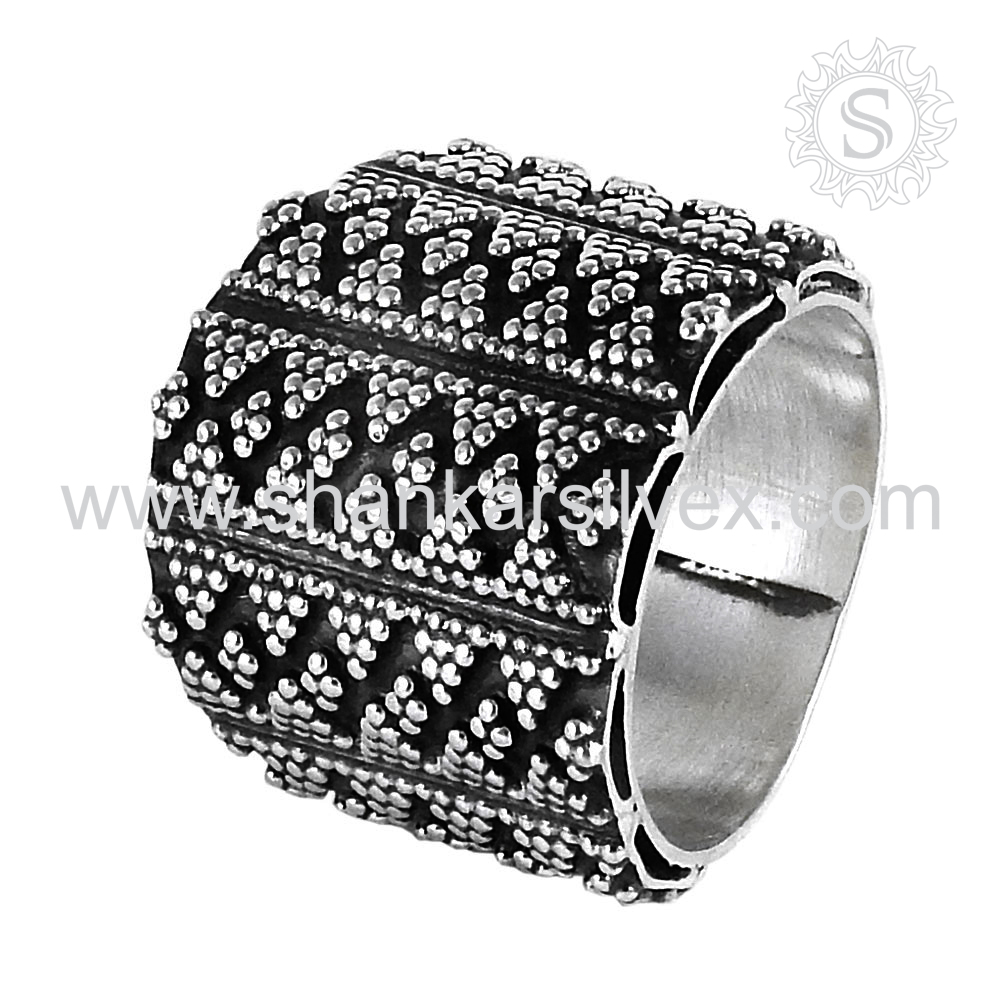 Handcrafted Design Indian Silver Ring Wholesale 925 Sterling Silver Ring Offers Plain Silver Jewelry