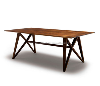 Cross Iron Leg Natural Acacia Wood Dining Table Buy Nature Iron