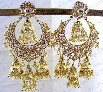 109e71b2b9f06 Heavy Big Round Kundan Stone Jhumka Hanging Cip On Pearl Beaded Golden  Mughal Style Royal Earrings - Buy Long Jhumka Style Earring,Long Double  Jhumka ...