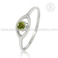 Simple Design Peridot Natural Gemstone Silver Jewelry Ring 925 Sterling Silver Jewelry Manufacturer India
