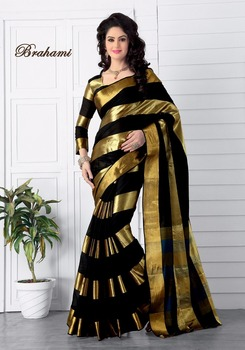 cf3b7a692 Beautiful Traditional Partywear Cotton Saree With Border And Blouse Piece