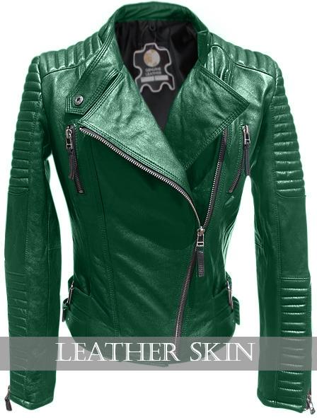 a9531e7a7d131 Leather Skin Vert Brando cuir véritable Veste épaules et manches matelassées