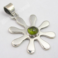 .925 Sterling Silver CABOCHON GREEN PERIDOT ONLINE BUY New FLOWER Pendant 3.4 CM