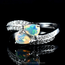 Genuine Natural Gemstone Opal Silver Jewelry, 925 Silver Cubic Zircon Sterling Silver Ring, Fashionable Silver Wholesale jewelry