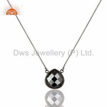 Wholesaler of Hematite Bezel Set Gemstone Pendant With Supplier of Black Oxidized 925 Sterling Silver Jewelry