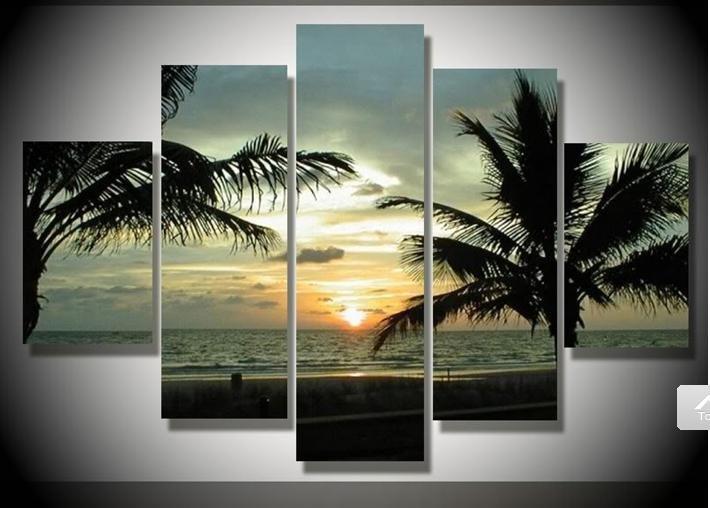 2018 the palm tree huge handmade seascape oil painting on canvas