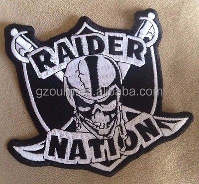 Factory price Raiders embroidery patch sew on football iron on embroidery brand patches for clothing