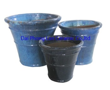 Tall Round Blue Large Outdoor Garden, Clay Pot, Garden Planters Pottery