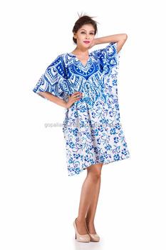 e328fbb220 Indian 2017 Handmade Ombre Mandala Stylish Short Kaftan Dress Beach Bikini  Wear Cover Maxi Gown Indian Women Caftan Short Dress - Buy Short ...