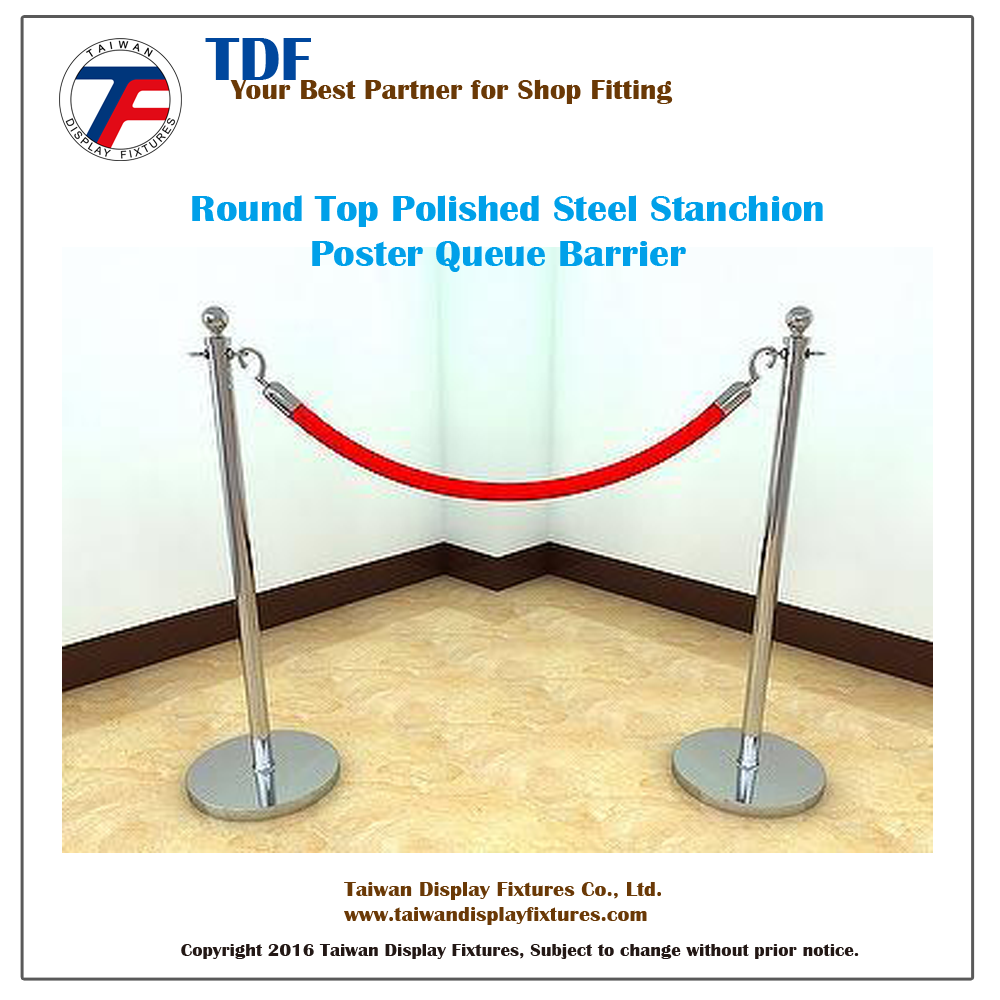 Round Top Polished Steel Stanchion Poster Queue Barrier