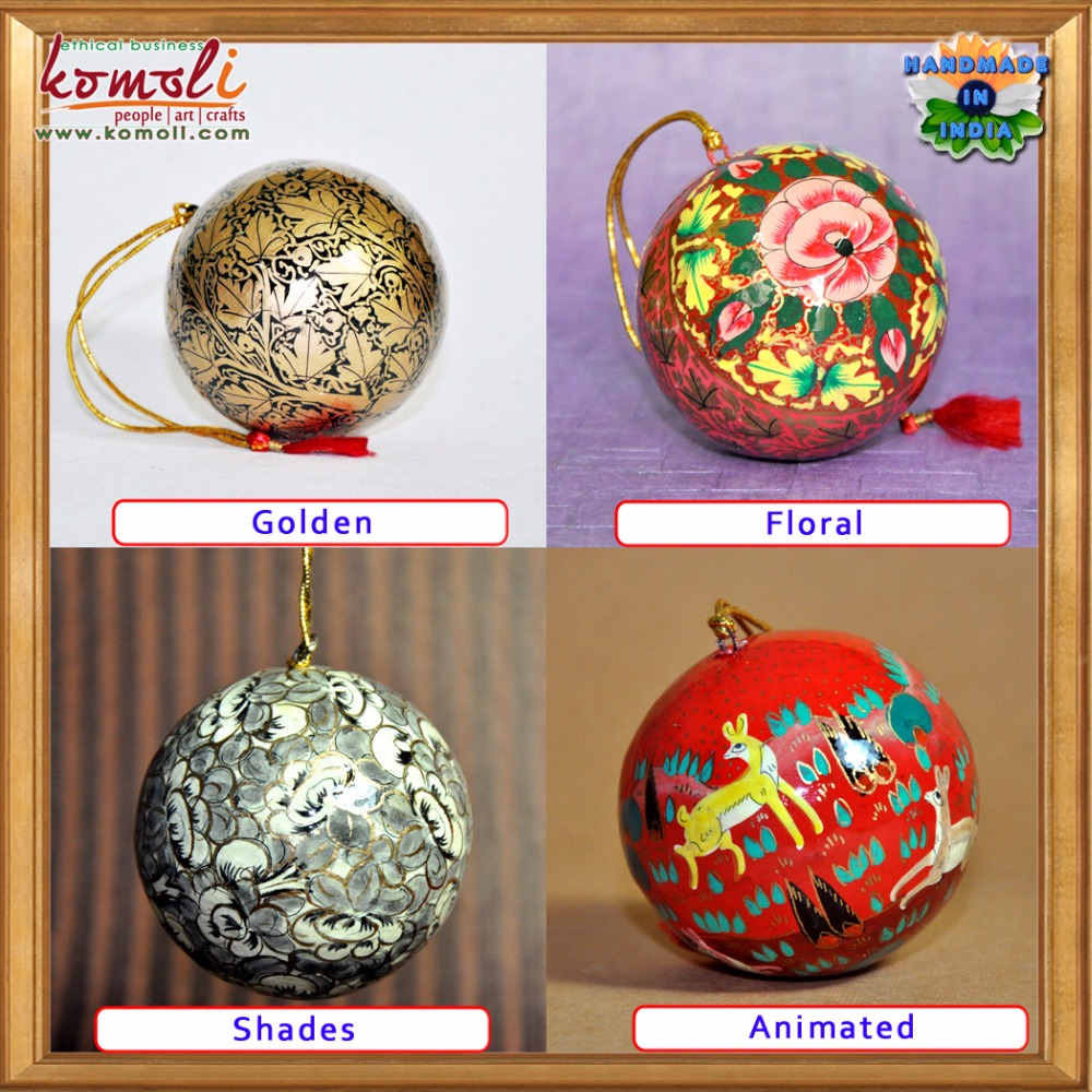 Hand Painted Paper Mache Christmas Decoration 2018 Baubles Balls New ...