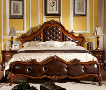 Linen French Tufted Back Wooden Modern Carved Bed Wood Bedroom Furniture