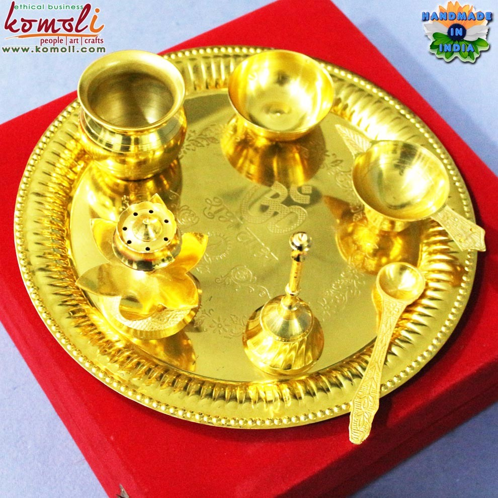 Silver Gifts For Indian Wedding: Brass Puja Thali Set Of 5 Pooja Items Silver Indian