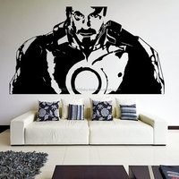 Vinyl Wall Decal Tony Stark from Movie Iron Man Robot Suit Art Decor Removable Sticker / Home DIY Mural