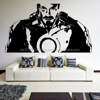 Vinyl dinding decal tony stark dari film iron man robot suit art decor removable sticker