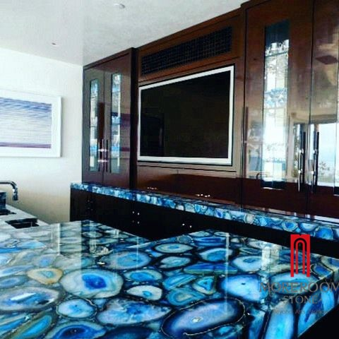 Semi Precious Stone Led Backlit Blue Agate Countertop