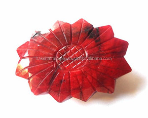 Natural Dyed Red Beryl Carving Oval Leaf Loose Gemstone
