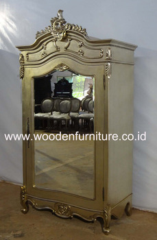 Rococo Wardrobe One Door French Style Armoire With Mirror