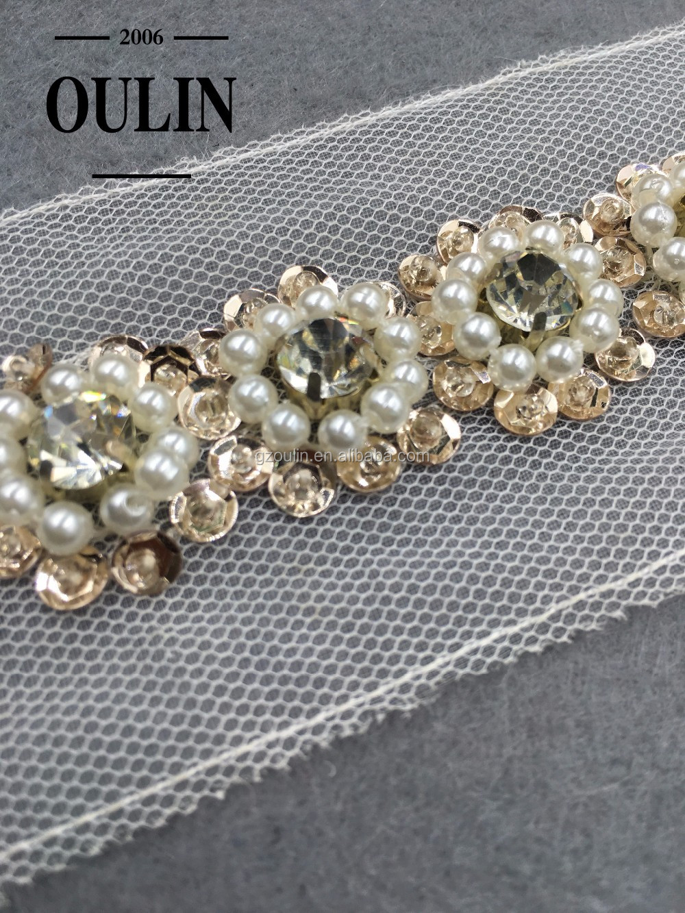 Pearl With Rhinestone Chain Lace Sew on clothing sequins lace type rhinestone chain lace