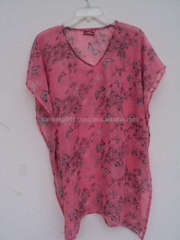 863ee34515495 Butterfly printed georgette kids wear girls kaftan / kids favorite pink  color printed dress