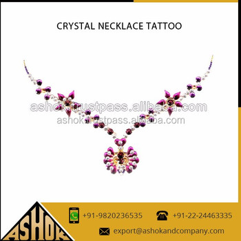 Rhinestone crystal neckles tattoos manufacturer neckless for Rhinestone body tattoos