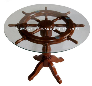 Wooden Ship Wheel Table With Glass Top Nautical Furniture Wooden