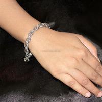 Black Diamond Beautiful Design 925 Sterling Silver Link Chain Bracelet For Women's