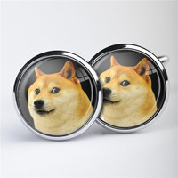 Factorytoshop (UK) Providers of Wholesale and Dropshipper Services Cute Print Fashion Metal Cufflinks Unisex - Doge