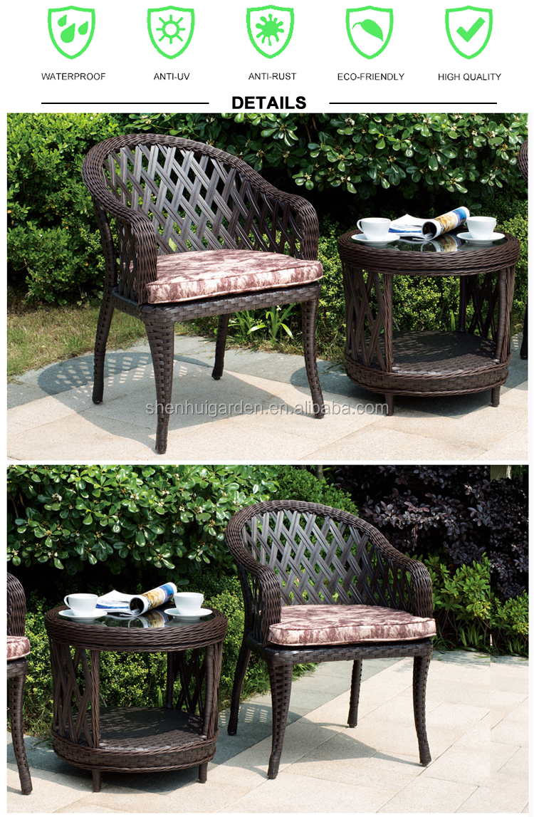 2018 Top Selling Modern Garden 2 Chairs Rattan Outdoor Furniture  # Muebles Tik Tak