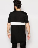 Longline T-Shirt With Woven Insert And Zip Extender