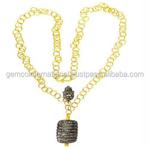 AN-333 Pave Diamond Bead Jewelry Wholesaler 22k Yellow Gold Chain Necklace