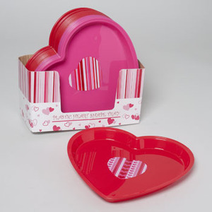 TRAY HEART SHAPED PLASTIC 2AST RED/PINK W/DESIGN IN 36PC PDQ #G87120