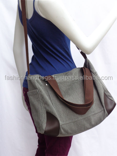 Heavy canvas designer shoulder shopping bags