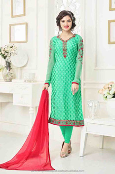 Brasso Fabric Salwar Suit Wholesale Embroidered Work Unstitched